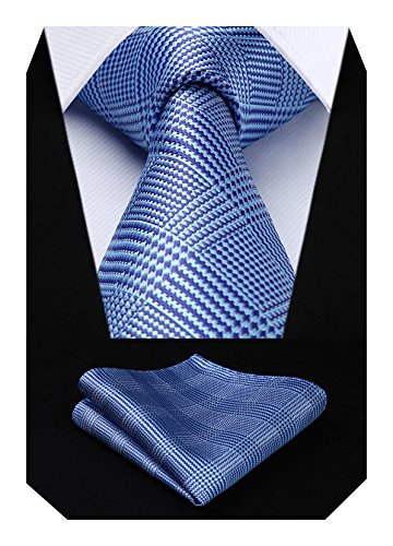 HISDERN Controllare Wedding Tie Fazzoletto Cravatta da uomo & Set tascabile