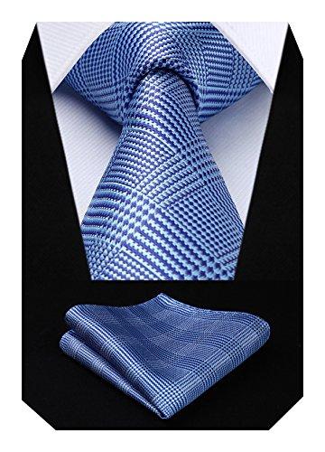HISDERN Herren Krawatte Hochzeit Check Krawatte & Einstecktuch Set Blau