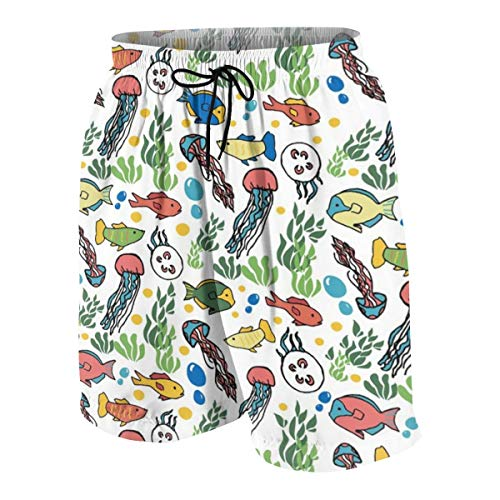 hulili Swim Trunks Colorful Ocean Beach Beach Shorts Printed Funny Quick Dry for Kids Boys -