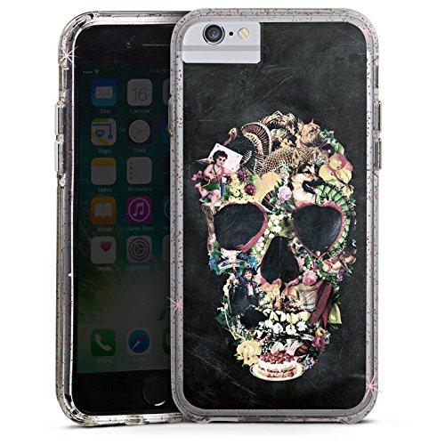 Apple iPhone 6s Bumper Hülle Bumper Case Glitzer Hülle Vintage Skull Totenkopf Schädel Bumper Case Glitzer rose gold