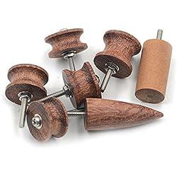 Hrph 7 Piezas Nueva cuero Bruñidor Impermeable Madera Craft Edge herramientas del conjunto de ébano Multi-Kit tamaño
