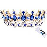 Santfe 2''Altura Tiara Corona de Cabello Tocado de Novia Diamantes de Imitación Decoración para Boda Color Oro