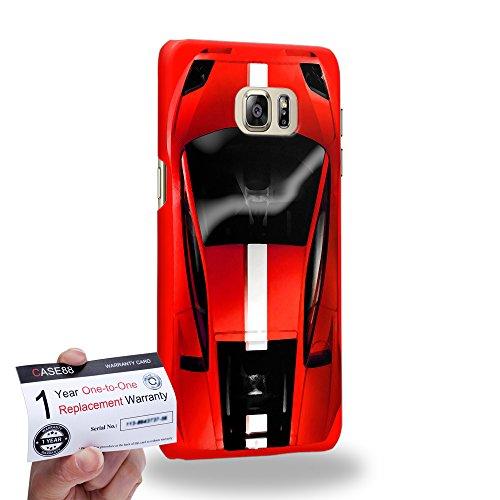 Case88 [Samsung Galaxy S6 Edge Plus] 3D Hülle / Schutzhülle & Garantiekarte - Art Design Red Sport Car