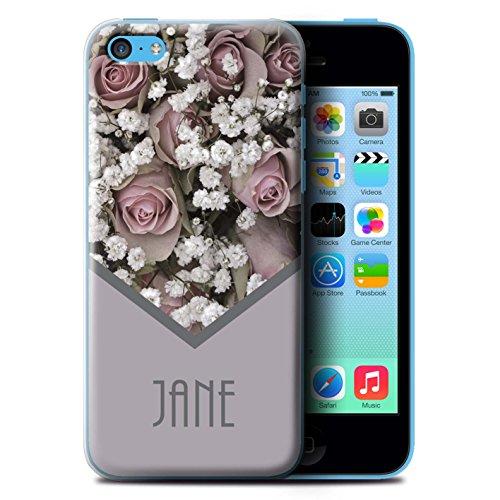 Personalisiert Individuell Blumen Hülle für Apple iPhone 8 / Goldweinlese Rosen Design / Initiale/Name/Text Schutzhülle/Case/Etui Rosa Blumenstrauß