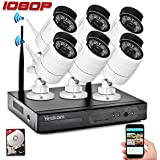 Yeskam CCTV Camera Security Systems 1080P HD Wireless 6pcs IP Cameras Auto Pair NVR Recorder with Motion Activated Mobile App Remote View for Outdoor