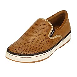 Quarks Mens Tan Synthetic Slip On Smart Casual Shoes J1115TN-8