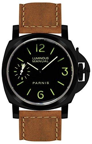 75439d30aad0 PARNIS 9063 clásica mano aufzugs Reloj 44 mm Cristal de zafiro de reloj de  pulsera para