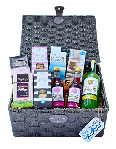 Taste of Cornwall Hamper. Simply Cornish Cheddar Cheese and Seaweed Flakes Savoury Snacks - Cornish Orchards Cranberry and Raspberry Sparkle - Cornish Orchards Pressed Apple Juice - Roskilly�s Organic Clotted Cream Fudge - Simply Cornish Luxurious Strawbe