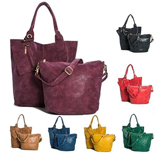 BHBS Mesdames Designer 3 en 1 fourre-Shopper et Make up à Main 44x38x10 cm (LxHxP) Purple