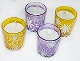 4er Set Weihnachtskerzen Partylichter Partykerzen im Glas, mit Glas, Kerzenglas, Kerzen mit Glasfassung, Gelb, Lila