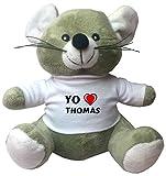 Ratoncito de juguete de peluche con camiseta con estampado de 'Te quiereo' Thomas (nombre de pila/apellido/apodo)