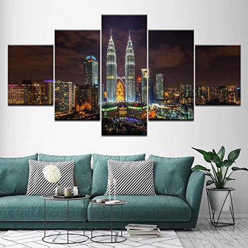 rei Nacht Blick auf die Stadt 5 Stück Malerei Wandkunst modulare Tapeten Posterdruck für Hauptdekoration des Wohnzimmers (Kein Rahmen) ()