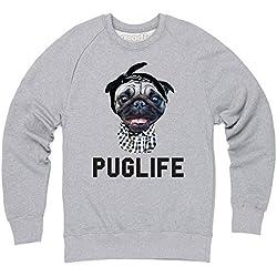 Goodie Two Sleeves Pug Life Sudadera de cuello redondo, Para hombre, Gris jaspeado, XL
