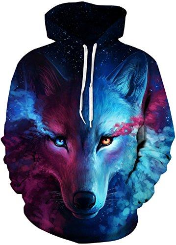 FLYCHEN Herren 3D Druck Galaxy Kapuzenpullover Sweatshirt mit Kapuze Langarm Unisex Hoodie Pullover Sweater (XXL/3XL, Wolf Kopf) (Herren Großen Den Gehen Kopf)