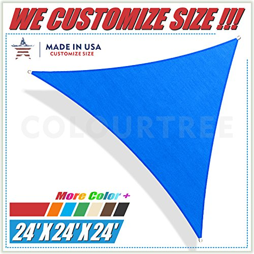 ColourTree Sonnensegel, dreieckig, UV-beständig, strapazierfähig, für gewerbliche Zwecke geeignet, 61 x 61 cm, Blau