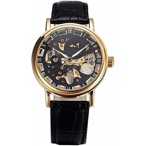 pkaty da uomo orologi unico scheletro cinturino in pelle a mano vento meccanico polso Watch-Black