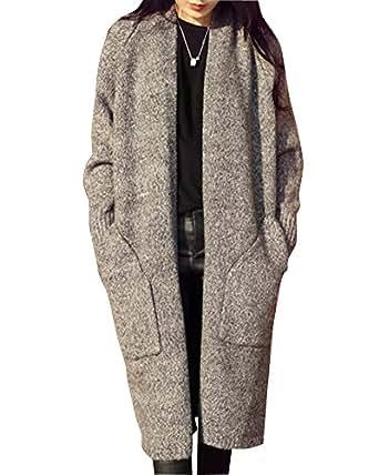 15ae9fb5d24e Landove Cardigan Chandail Femme Manteau Mi-Long Mélange de Laine Mode  Trench Coat Veste en
