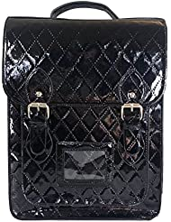 Sac à dos satchel de style verni brillant Sac en cuir simili noir