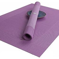 X cool Juego de 4 manteles individuales de PVC antideslizante de Textilene, multicolores, juego para restaurante, Hotel, comedor (Purple)
