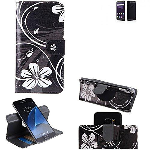 K-S-Trade® Schutzhülle Für ZTE Blade V8 64 GB Hülle 360° Wallet Case Schutz Hülle ''Flowers'' Smartphone Flip Cover Flipstyle Tasche Handyhülle Schwarz-weiß 1x