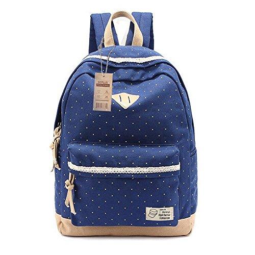 G2Plus Leichte Schulrucksack mit Polka Dots Nette Canvas Schultaschen Damen Mädchen EXTRA Groß Kinderrucksack Daypacks Rucksäcke Modische mit Laptop Fach 28 * 42 * 13 cm - Little Princess (Blau 1)