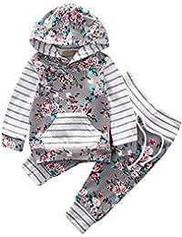 EDOTON Outfits Suit Neonato Bambina Manica Lunghe Cappuccio Vestiti Cappotto Floreale Top Felpa & Pantaloni Due Pezzi Suit