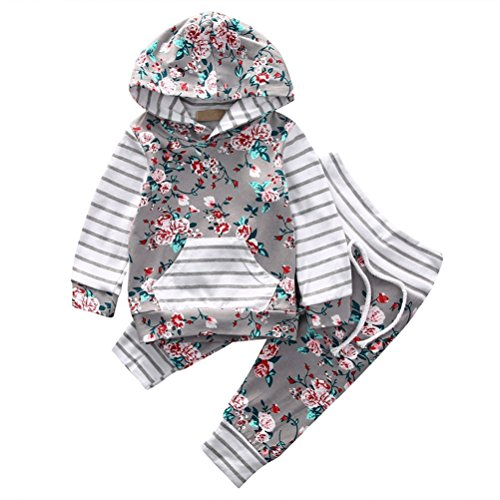 EDOTON Baby Mädchen Outfit 2 Stücke Set Gestreifte Blumen Hoodies mit Tasche Top + Lange Hosen Sweatshirt Outfit Kleidung (18-24 Monate, Grau) -