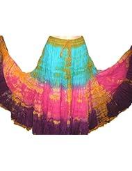 Multi Patio Tie Dye 25yardas Tribal algodón danza del vientre Danza Falda Gitana 08