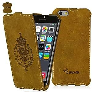 MANNA | Étui / housse / coque de protection luxe pour iPhone 6 de 4.7 pouces en cuir véritable | Flip case cover | CUIR NUBUCK | Couleur marron