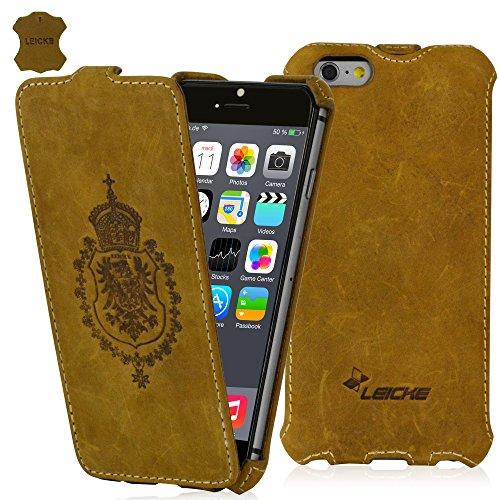 LEICKE Manna BestValue - UltraSlim Hülle für iPhone 6 und 6S (4,7 Zoll) | Flip Case | Nubukleder | Braun, mit farblich abgesetzter Naht