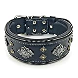 Bestia Aztec Echtleder Hundehalsband für Große Hunde. 100% Leder. Weich Gepolstert. 6,3 cm Breit. Einzigartiges Design und Qualität!