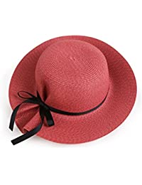 Beach Sun Hat Women's Foldable Bowknot Floppy Straw Sun Hat Wide Brim Beach Sun Visor Hat with 6 colors Soft and comfort