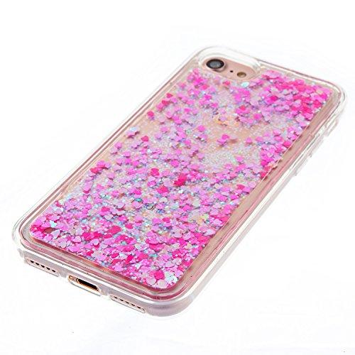 iPhone 7 Hülle, iPhone 7 4.7 Silikon Schutzhülle, Anfire Bling 3D Transparent Handy Case Hülle für iPhone 7 (4.7 Zoll) Weich TPU Silikon Schutzhülle Kreativ Dynamisch Treibsand Liquid Fließen Flüssig  Rosa