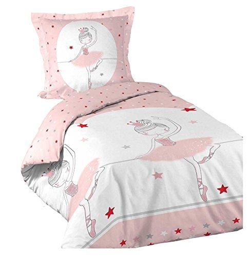 Dynamic24 2tlg. Kinder Mädchen Bettwäsche 140x200 Ballerina Bettdecke Bettgarnitur Decke