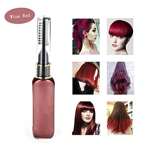 Haarkreide - Greencolourful Mode Langlebige Einweg Haar Farben Creme Haare Färben Kreide Haartönungen mit Kämme, Weinrot (Fleck Farbe Kreide)