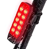 Feu arrière de vélo, étanche et rechargeable par USB, 6 réglages (pas de câble USB requis), super lumineux 10 LED faciles à clipser Rouge pour la sécurité du vélo