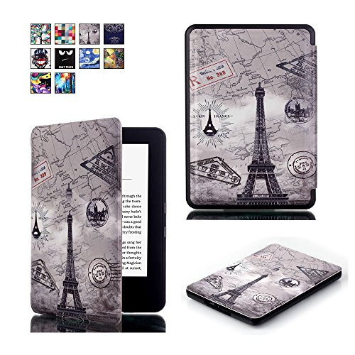 ProElite Designer Smart Flip case cover for Amazon Kindle E Reader 6' 8th Generation 2016 Launch (Design-Eiffel) [will NOT FIT Paperwhite]