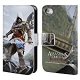 Head Case Designs Offizielle Assassin's Creed Edward Schwert Schwarze Fahne Schluessel Kunst Brieftasche Handyhülle aus Leder für iPhone 4 / iPhone 4S