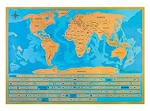 HIBERNO Premium-Poster Rubbelweltkarte, Individuelle US-Staaten zum Abrubbeln, DeLuxe Reiseweltkarte mit allen Ozeanen, ideales Geschenk für Mann & Frau, inklusive Bonus-Rubbelstift