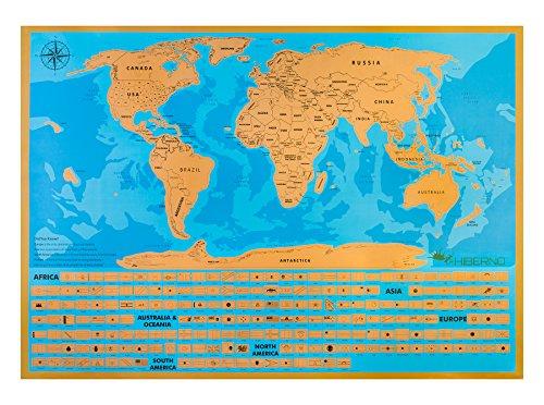 Scratch mapa del mundo, Mapa para rascar - Póster premium - Mapamundi para rascar - Detalle de cada estado de EE. UU. - Mapa de viajes por el mundo - Edición de lujo con océanos - Regalo ideal - ¡Incluye bolígrafo rascador!