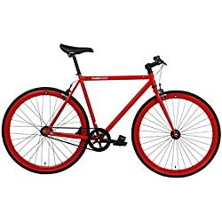 FabricBike- Bicicleta fixie roja, piñon fijo, Single Speed, cuadro Hi-Ten acero, 10Kg (M-53, Fully Glossy Red)