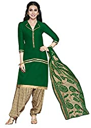 Jiya Presents Crepe Dress Material (Green,Beige)