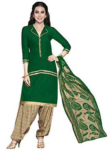 Khushali Presents Crepe Dress Material (Green,Beige)