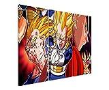 Quadro su tela 3pezzi Dragon Ball _ Z _ Vegeta _ 3x 90x 40cm (totale 120x 90cm) _ Versione Bella Stampa Artistica Su vera tela come un murale su telaio