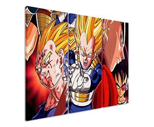 Lienzo 3piezas Dragon Ball _ Z _ vegetariano _ 3x 90x 40cm (total 120x 90cm) _ Acabado impresión artística Schöner auténtica Lienzo como Cuadro En Bastidor