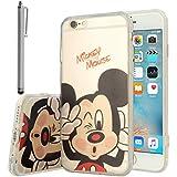 VCOMP Cubierta de silicona TPU Transparente Ultra Fina Dibujo animados bonito para Apple iPhone 6/ 6s - Mickey Mouse + lápiz óptico