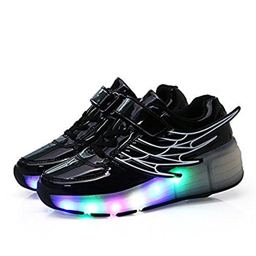 Aidonger Unisex Erwachsene Kinder Engel-Flügel Form Skateboard Schuhe 7 Farbe Farbwechsel LED Leuchtend Sneaker Turnschuhe Schwarz