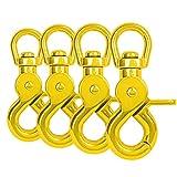 Ganzoo Scheren-Karabiner Haken mit Dreh-Gelenk/Dreh-Kopf für Hunde-Leine/Hals-Band 4er Set, legierter Stahl ? 61mm Länge, auch für Paracord 550 / Schlüssel-Anhänger, Farbe: gelb
