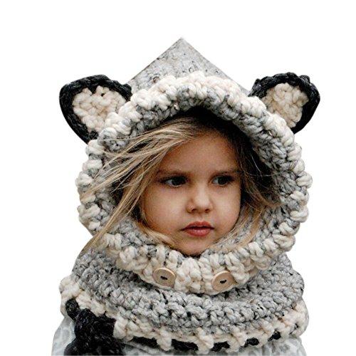 Bonice Inverno a Maglia di Lana Berretti Fox Cappelli Neonate Scialli con  Cappuccio Cowl Beanie Bambino Moda Autunno Inverno Orecchie Di Cane Berretto  In ... fc7cbc502df8