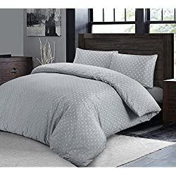 Juego de cama con edredón nórdico con tejido de lujo de extremo a extremo y fundas de almohada con diseño de lunares, Grey with White Dots, matrimonio grande